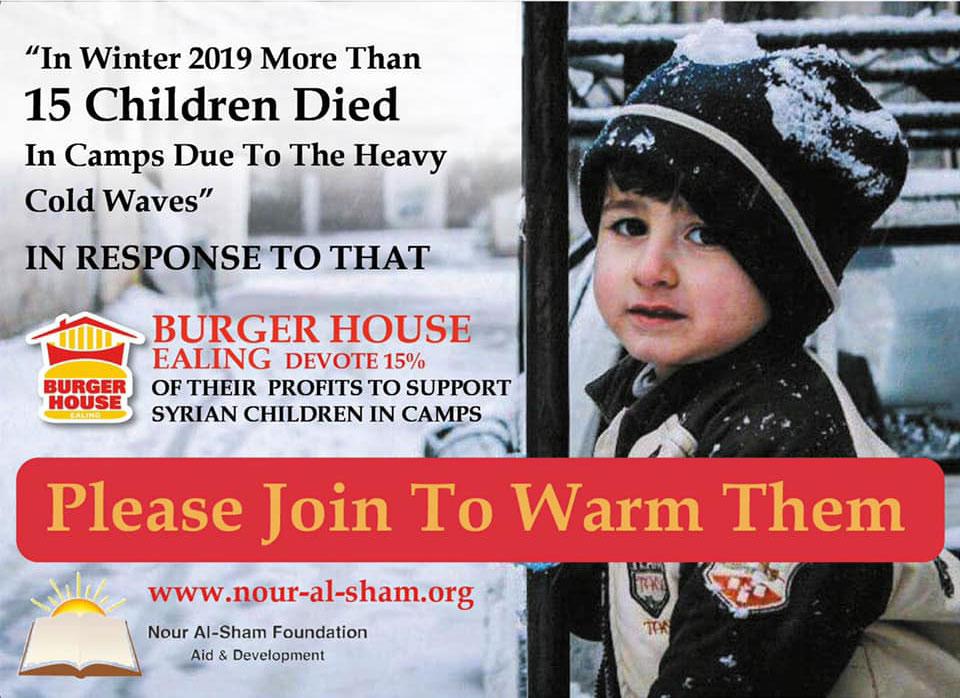 Syrian charity Al noor Burger House London Ealing