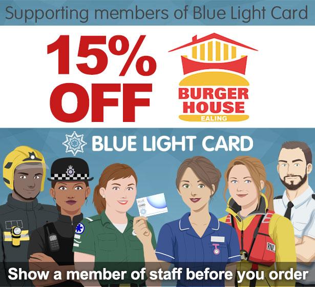 Blue light card Burger House Ealing London 15% off